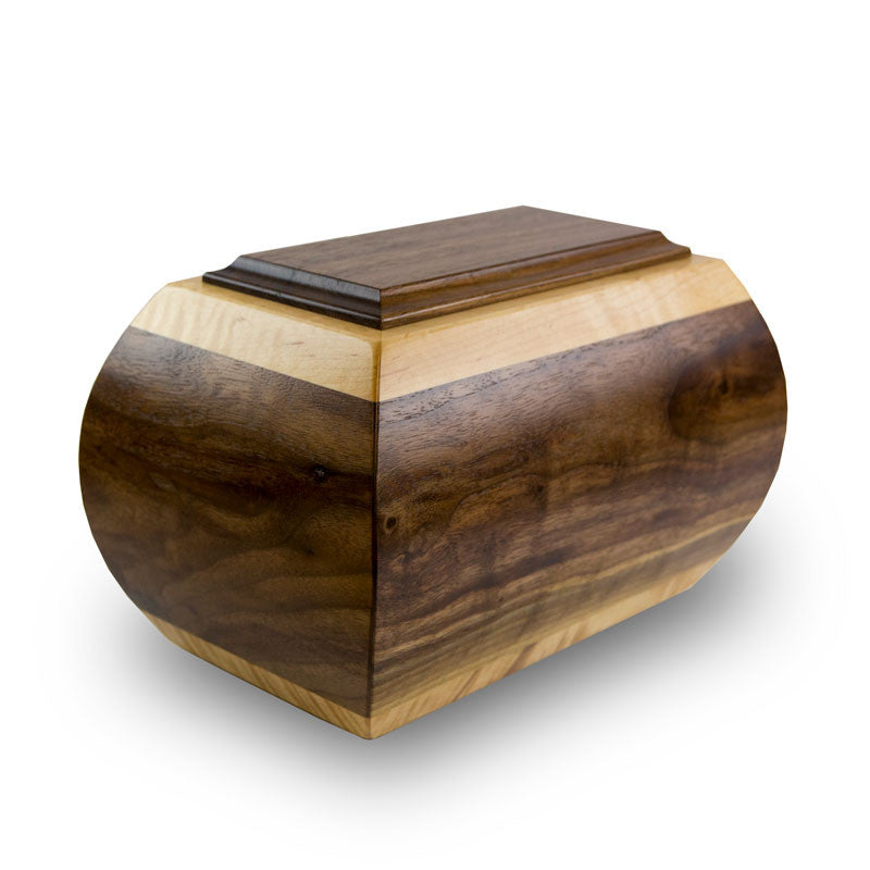 Heritage Walnut and Tiger Maple Wood Cremation Urn