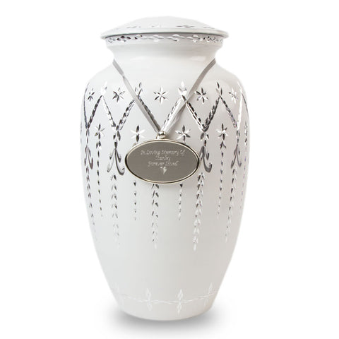 Garland Drop Cremation Urn - White