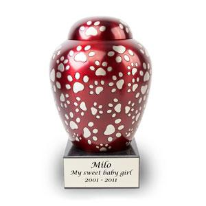 Red Paws of Love Pet Urn