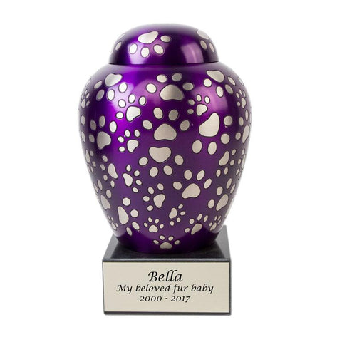Paws of Love Pet Urn - Purple