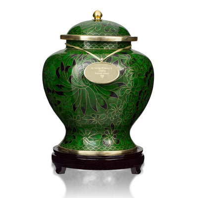 Forest Green Cloisonne Cremation Urn
