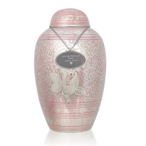 Large Shimmering Rose Cremation Urn