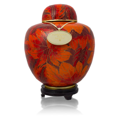Autumn Forest Cloisonne Cremation Urn