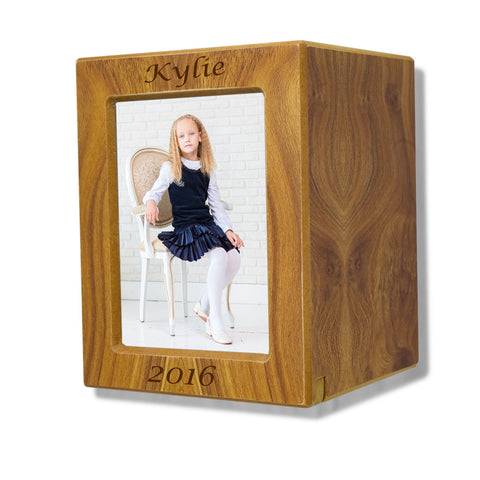 Child Cremation Photo Urn - Natural MDF
