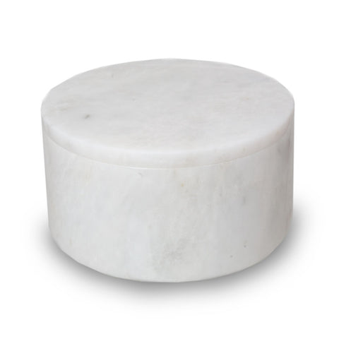 Taj Mahal Marble Cremation Urn Circular Keepsake Box - Small