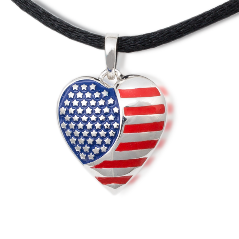 American Flag Cremation Necklace