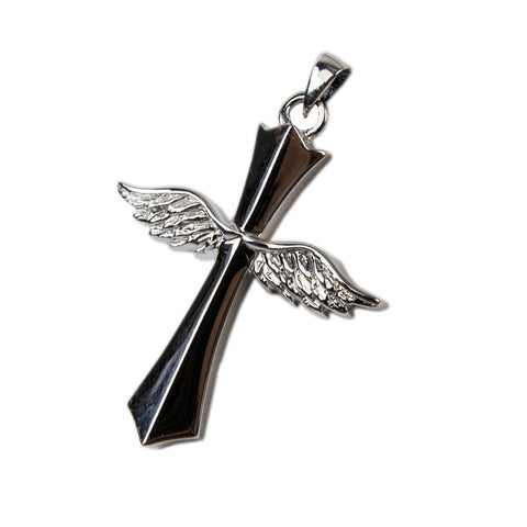 Sterling Silver Cross with Angel Wings Cremation Urn Pendant
