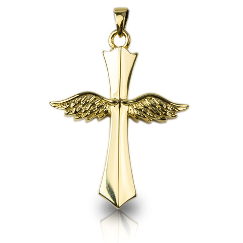 Cross with Angel Wings Cremation Necklace - Gold Vermeil