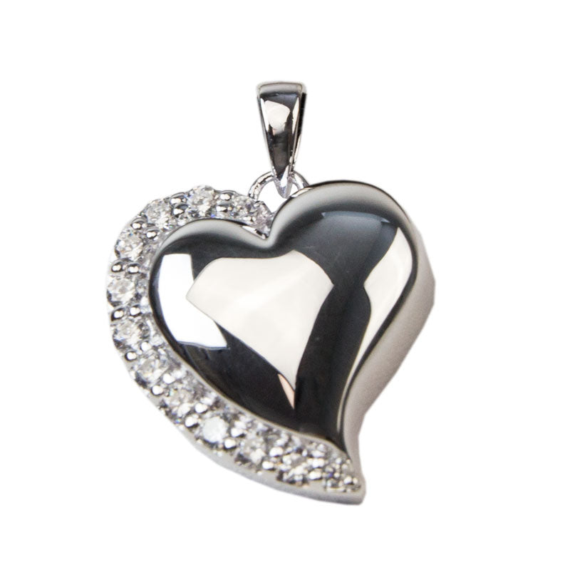 Crystal Heart Cremation Pendant - Sterling Silver