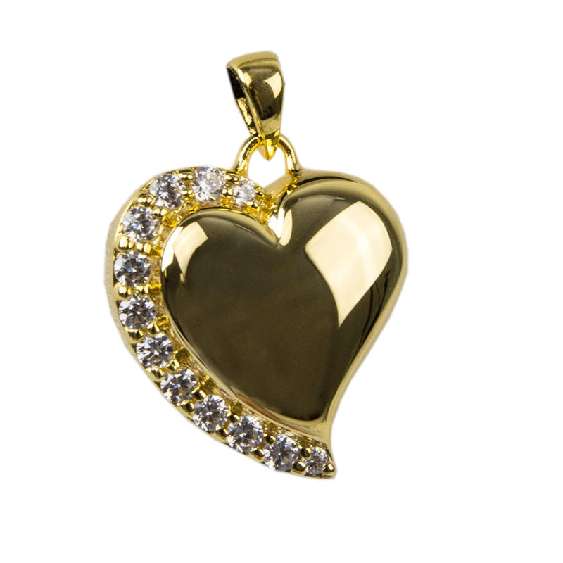 Crystal Heart Cremation Pendant - Gold Vermeil
