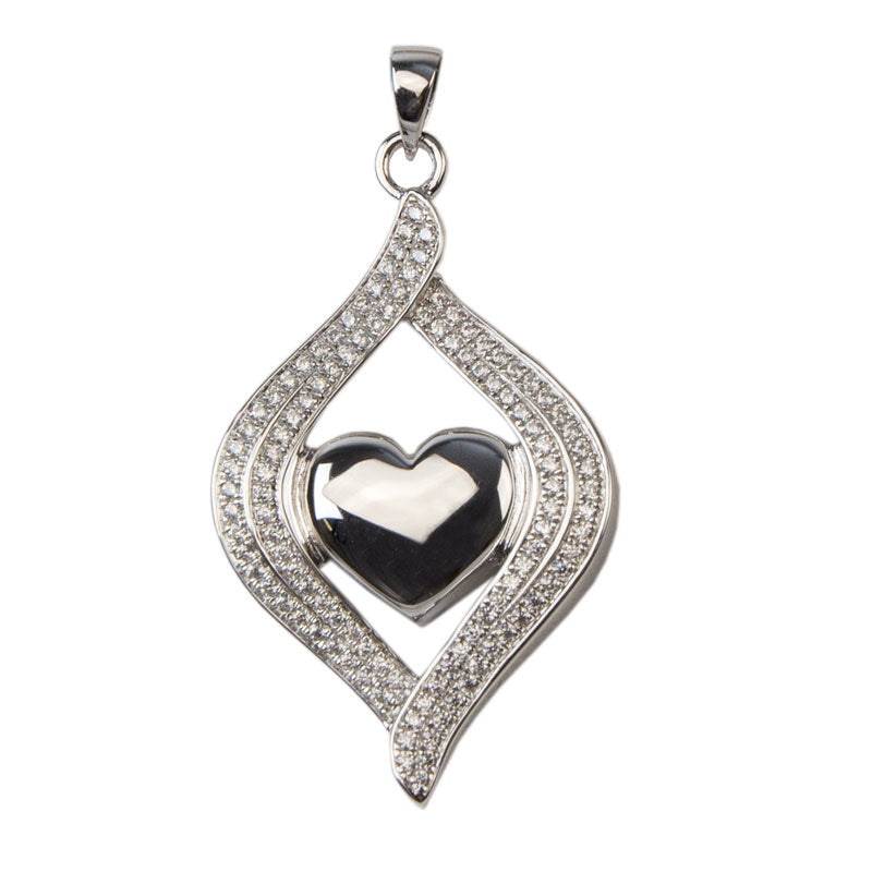 Heart Embrace Cremation Urn Pendant - Sterling Silver