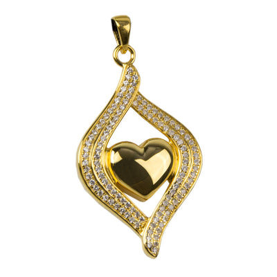 Heart Embrace Cremation Urn Pendant - Gold Vermeil