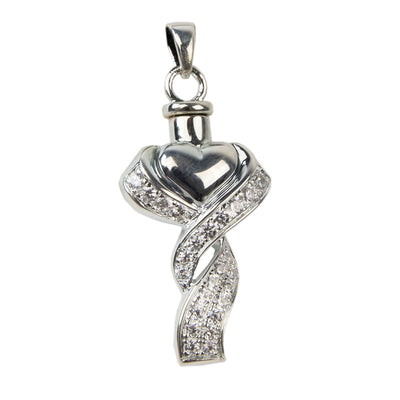 Ribboned Heart Cremation Pendant - Sterling Silver