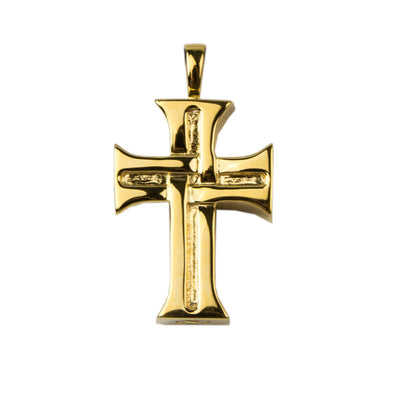 Cross Cremation Urn Necklace - Gold Vermeil