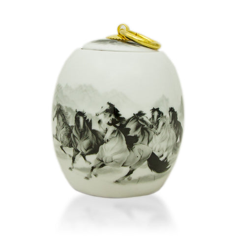 Extra Small Ceramic Cremation Urn - 8 Horses