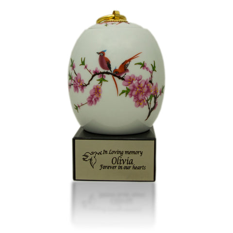 Extra Small Ceramic Cremation Urn - Floral Lovebirds