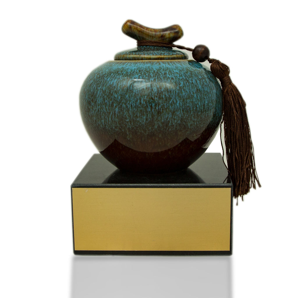 Azure Blue Ceramic Urn - Medium