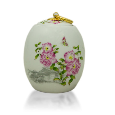 Extra Small Ceramic Cremation Urn - Peonies