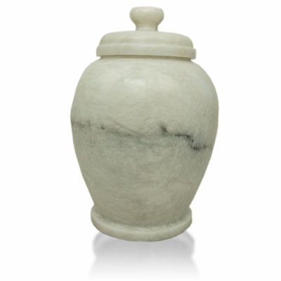 White Shell Genuine Marble Classic Cremation Urn - Hand Carved