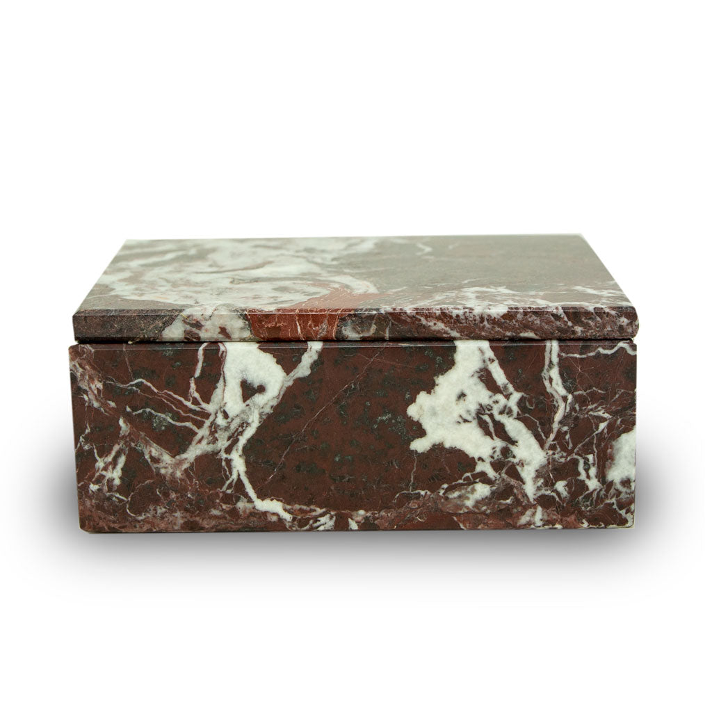 Red Marble Cremation Urn Keepsake Box - Small