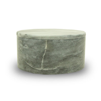 Cloud Grey Marble Cremation Urn Circular Keepsake Box - Small