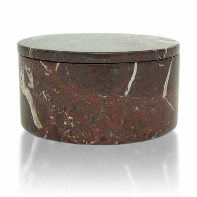 Red Marble Cremation Urn Circular Keepsake Box - Small
