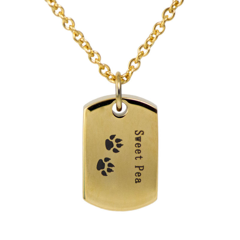 Sweet Pea Paw Prints Stainless Steel Cremation Pendant