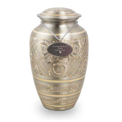 Radiant Platinum Cremation Urn - Silver and Gold