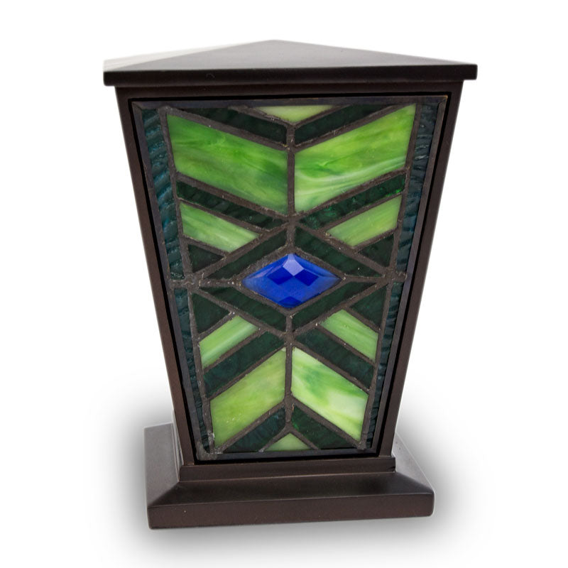 Emerald Mission Style Stained Glass Cremation Urn - Medium