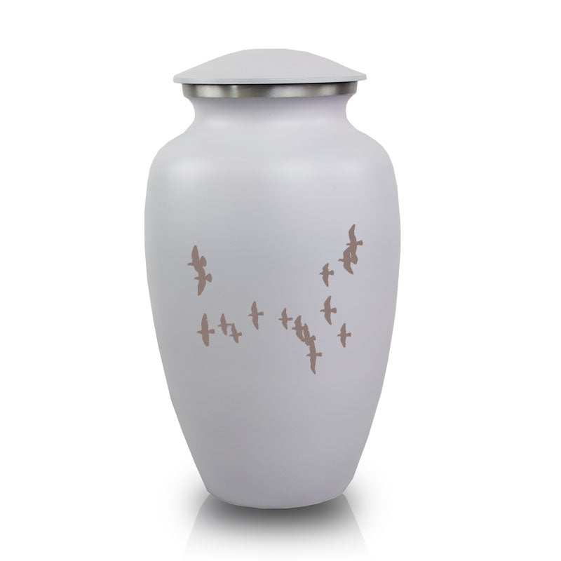 White Cremation urn- Birds