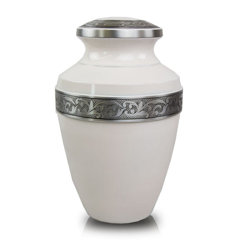 White Cremation Urn with Floral Band - Large