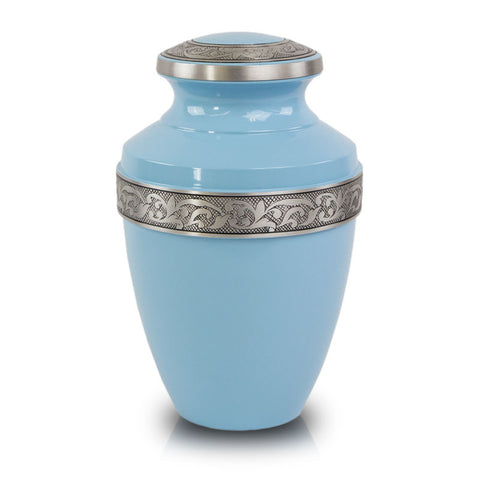 Blue Cremation Urn with Floral Band - Large