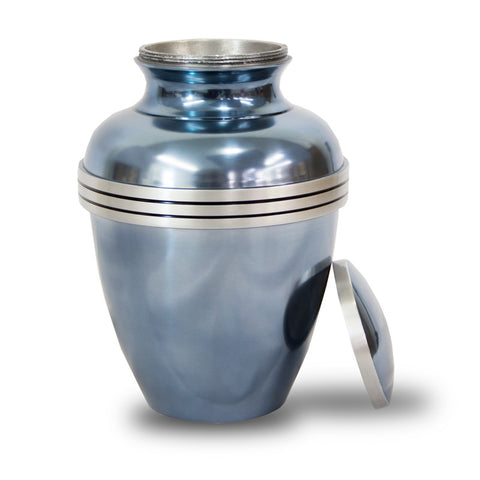 Blue Banded Cremation Urn - Large