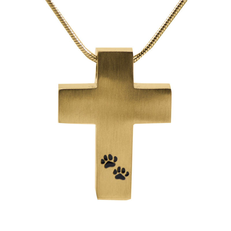 Paw Print Cross Cremation Necklace - Bronze