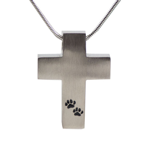 Paw Print Cross Cremation Necklace - Pewter