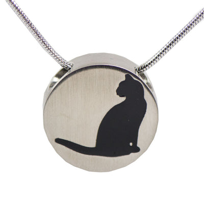 Pewter Cat Cremation Necklace