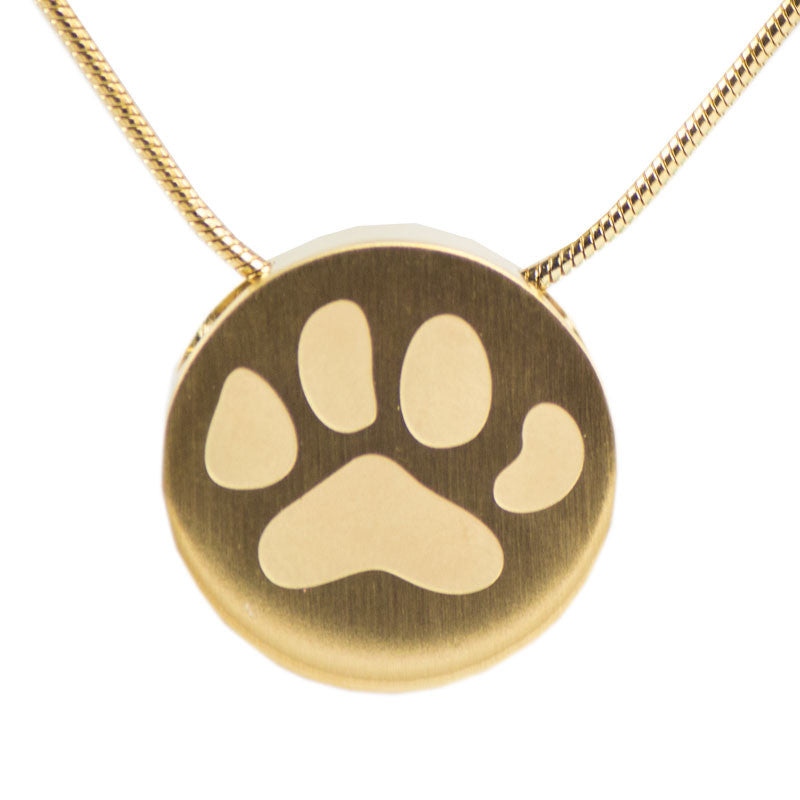 Paw Print Cremation Necklace - Bronze