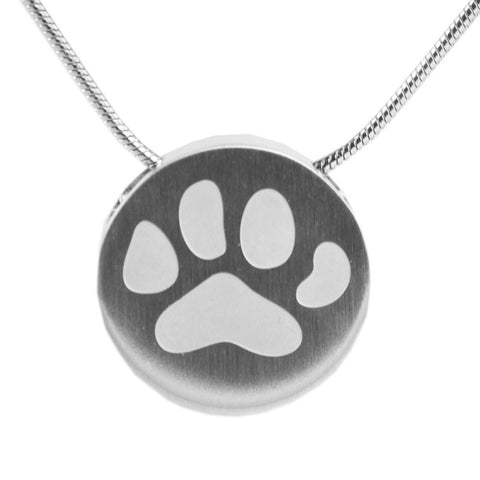 Paw Print Cremation Necklace - Pewter