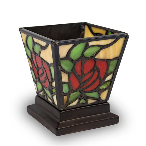 Red Rose Stained Glass Cremation Candle Keepsake