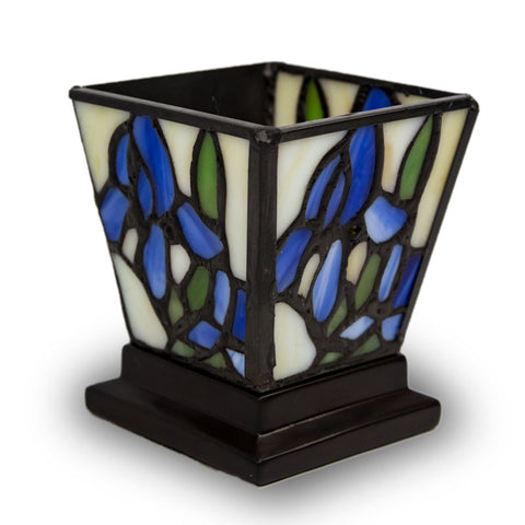 Blue Iris Stained Glass Tea Light Candle Keepsake