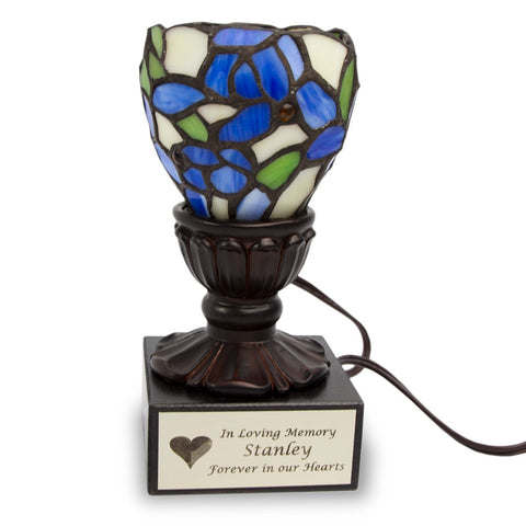 Blue Iris Stained Glass Memory Lamp