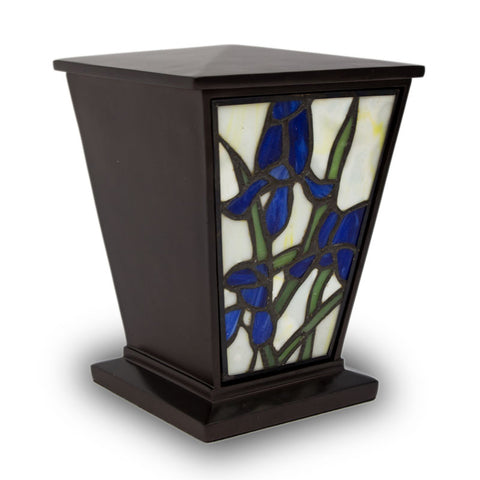 Blue Iris Stained Glass Cremation Urn- Medium