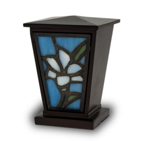White Lily Stained Glass Cremation Keepsake