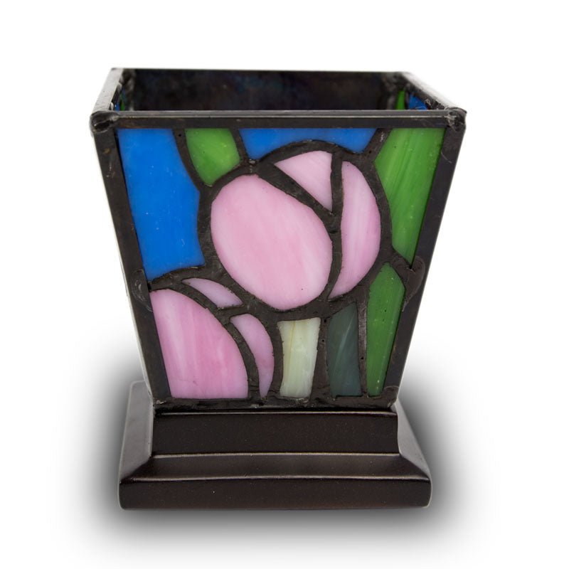 Pink Tulip Stained Glass Cremation Keepsake Candle Holder
