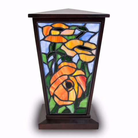 Red-Orange Poppy Stained Glass Cremation Urn