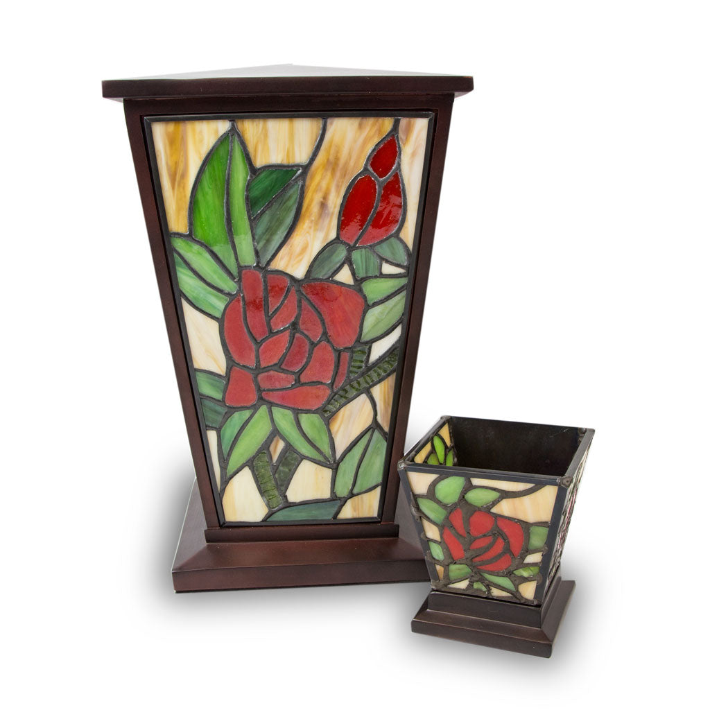Red Rose Stained Glass Cremation Urn Set