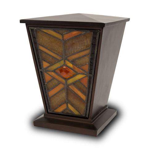 Amber Mission Style Stained Glass Cremation Urn - Medium