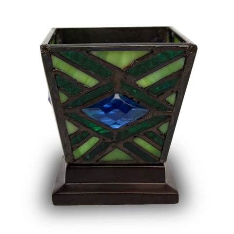 Emerald Mission Stained Glass Candle Cremation  Keepsake