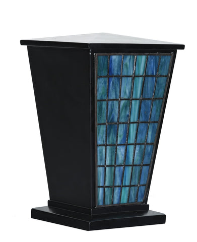 Waterfall Window Stained Glass Cremation Urn - Black
