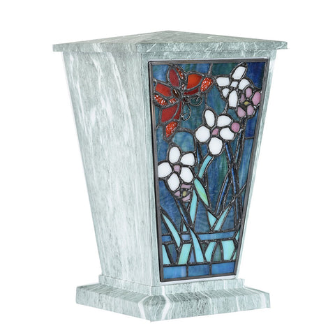 Butterfly Garden Stained Glass Cremation Urn - Jade